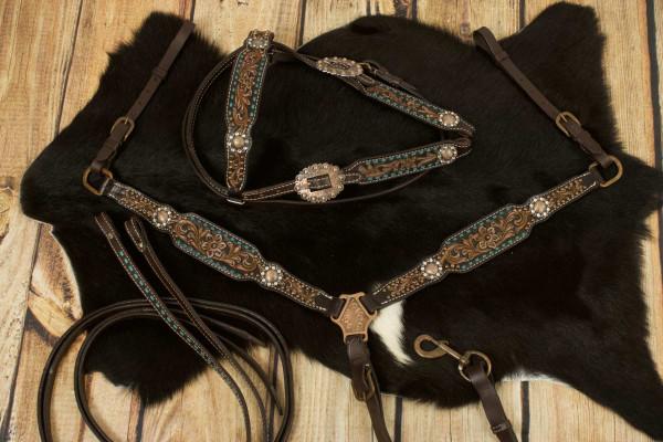 Vintage-Look Westerntrense, Set aus Kopfstück und Vorderzeug, dunkelbraun, mit Strass, petrolfarben