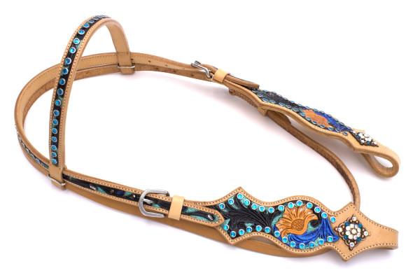 Westerntrense, Kopfstück mit farbiger Blumenpunzierung, türkis
