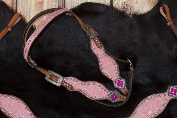 Glitzer Westerntrense pink, silberne Schnalle, Glitzertrense