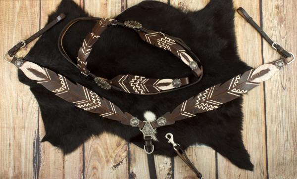 Federoptik Show Western-Kopfstück dunkel, Set aus Trense mit Vorderzeug, weiß, Leder Kaltblut