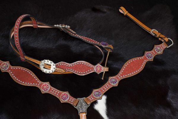 Glitzer Showtrense rot mit Vorderzeug, Set aus Vorderzeug und Westerntrense
