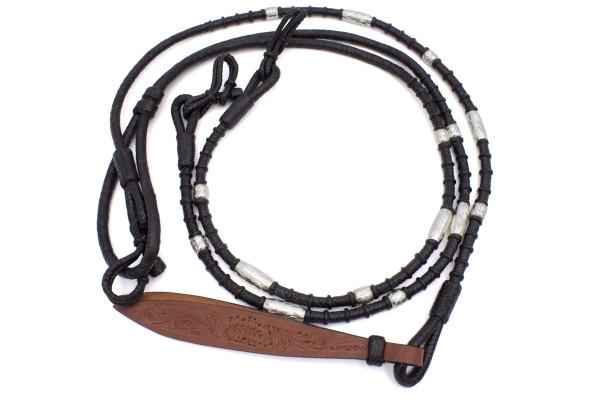 Romal Reins, Rohhaut Westernzügel schwarz mit silbernen Perlen