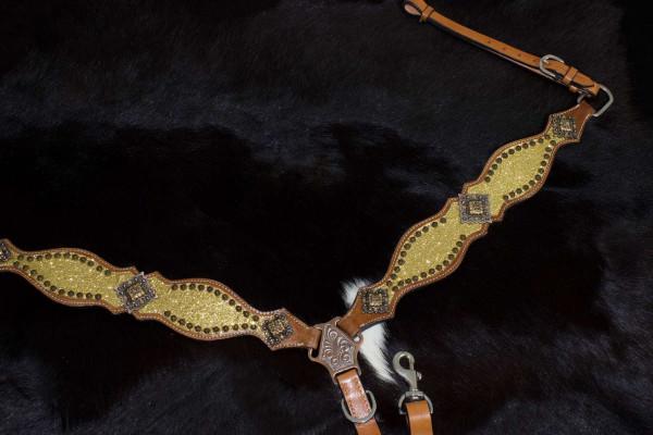 Glitzer Vorderzeug gold mit verzierten Nieten, Westernvorderzeug