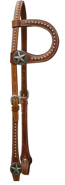 Einohr Westerntrense, Kopfstück mit Star-Conchos und Nieten, braun