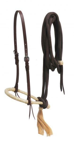 Bosal, Set mit Hanger und Nylonl Mecate, aus Leder & Rohhaut, oiled leather
