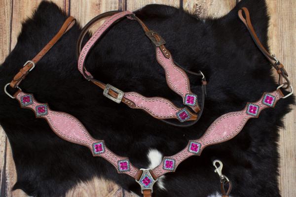 Glitzer Showtrense pink mit Vorderzeug, Set aus Vorderzeug und Westerntrense, silberne Schnalle