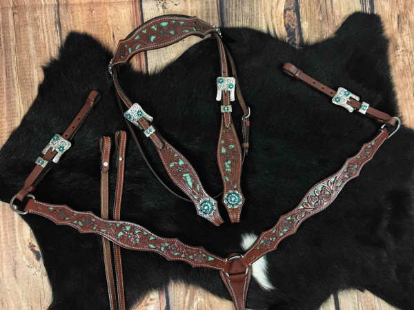Western-Kopfstück, Set aus Trense, Vorderzeug und Zügeln mit Strass Conchos, türkis