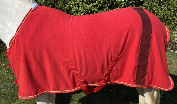 Abschwitzdecke mit Glitzerstreifen, Fleecedecke in rot, Pferdedecke, goldene Kordel