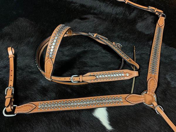 Western-Kopfstück, Set aus Trense mit passendem Vorderzeug, mit Nieten, Leder