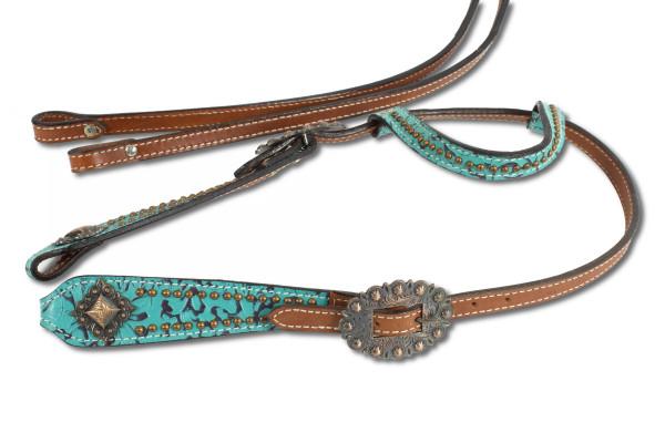 Show Einohr Westerntrense, Kopfstück mit türkisem Muster und kufperfarbenen Schnallen