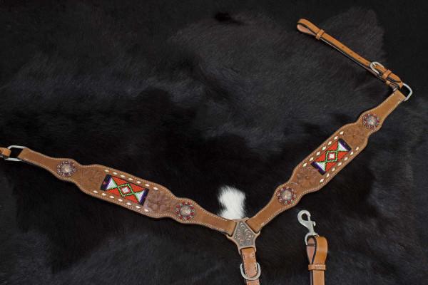 Westernvorderzeug mit Perlenmuster, punzierte Blumen, kupferfarbene Conchos
