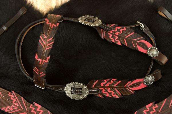 Federoptik Show Western-Kopfstück dunkel, Westerntrense pink